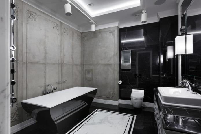 intérieur de la salle de bain en noir et gris