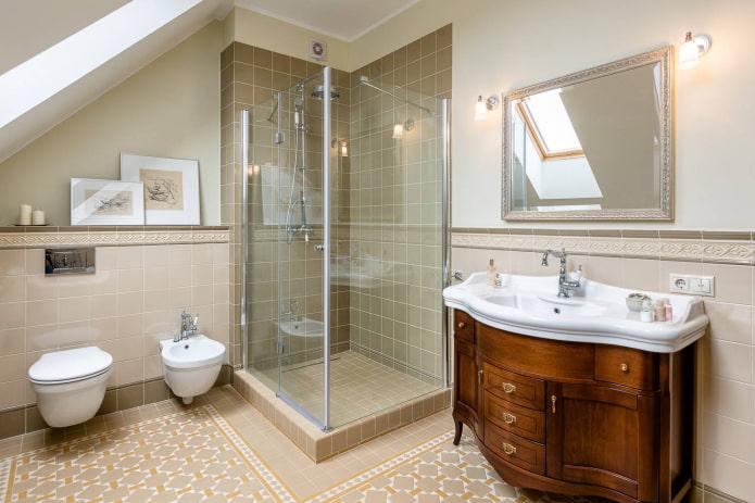 Salle de douche avec fondation