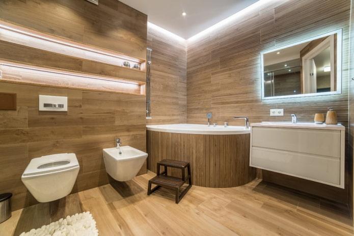 intérieur d'une salle de bain spacieuse avec un bol en acrylique d'angle