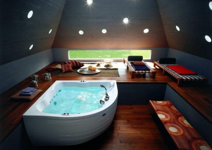 Salle de bain avec éclairage intérieur