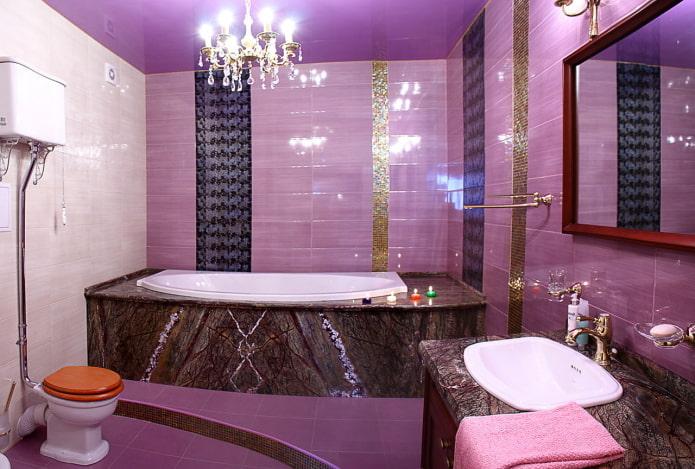 décoration de salle de bain aux couleurs lilas