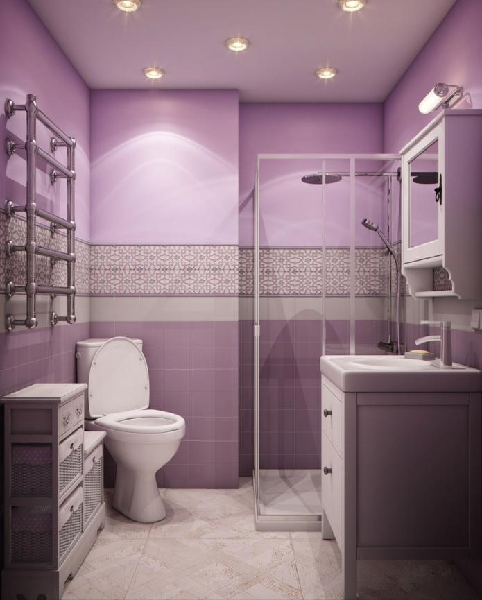 salle de bain combinée avec carrelage sur les murs