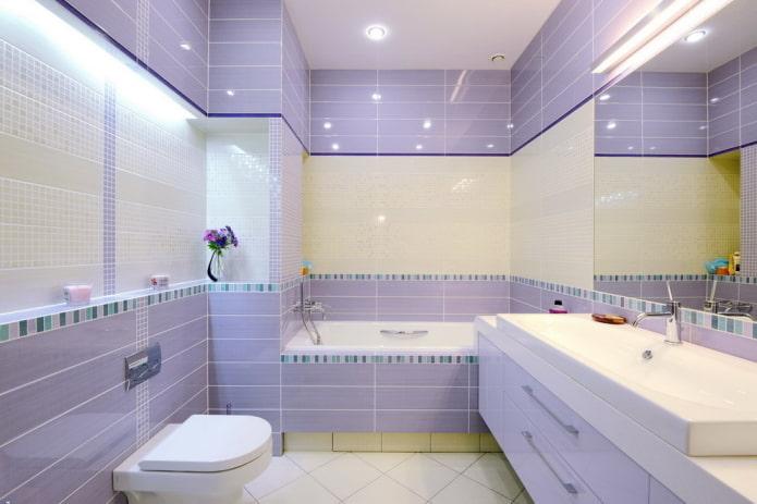 finition de salle de bain lilas