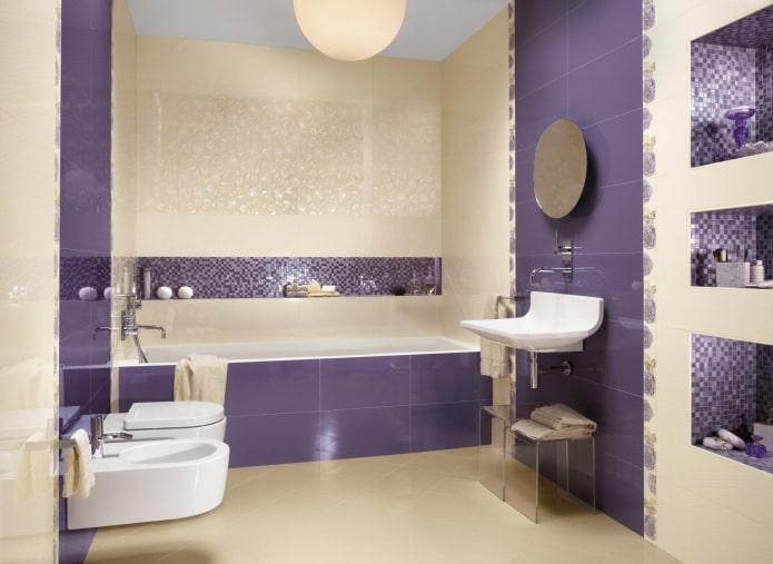salle de bain violet et beige