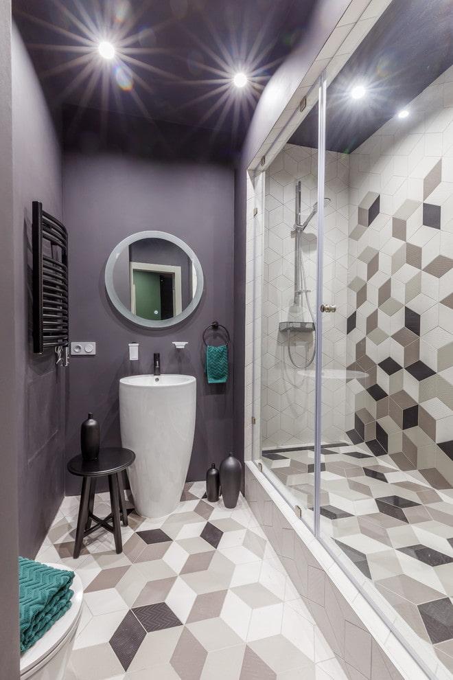 salle de bain gris-violet