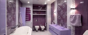 Фиолетовая и сиреневая ванная: сочетания, отделка, мебель, сантехника и декор