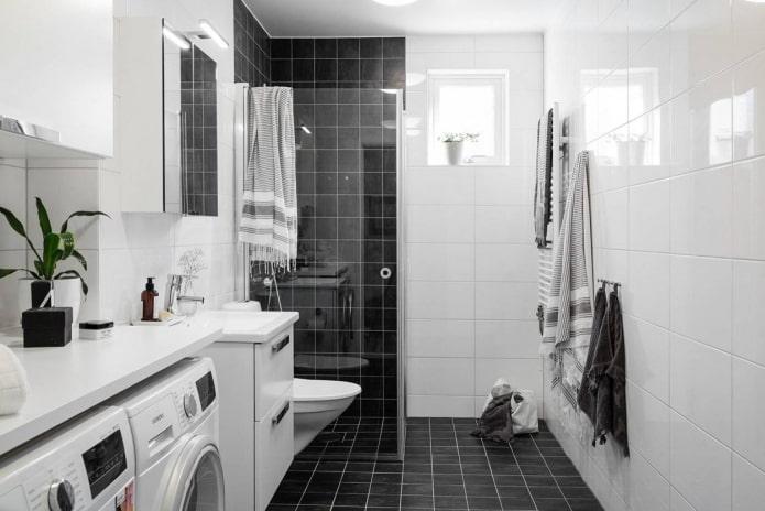 Carrelage carré noir et blanc rectangulaire