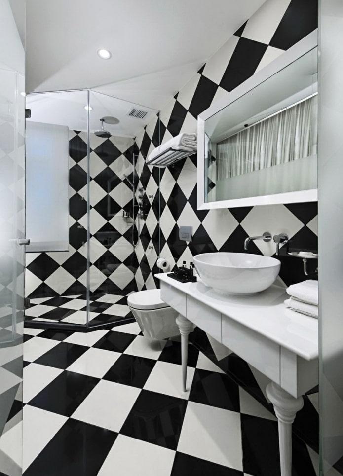 fini de salle de bain noir et blanc