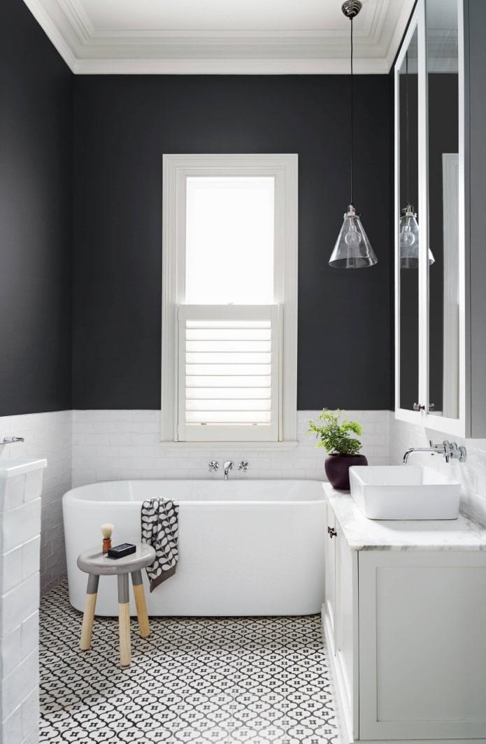 mur de salle de bain bicolore