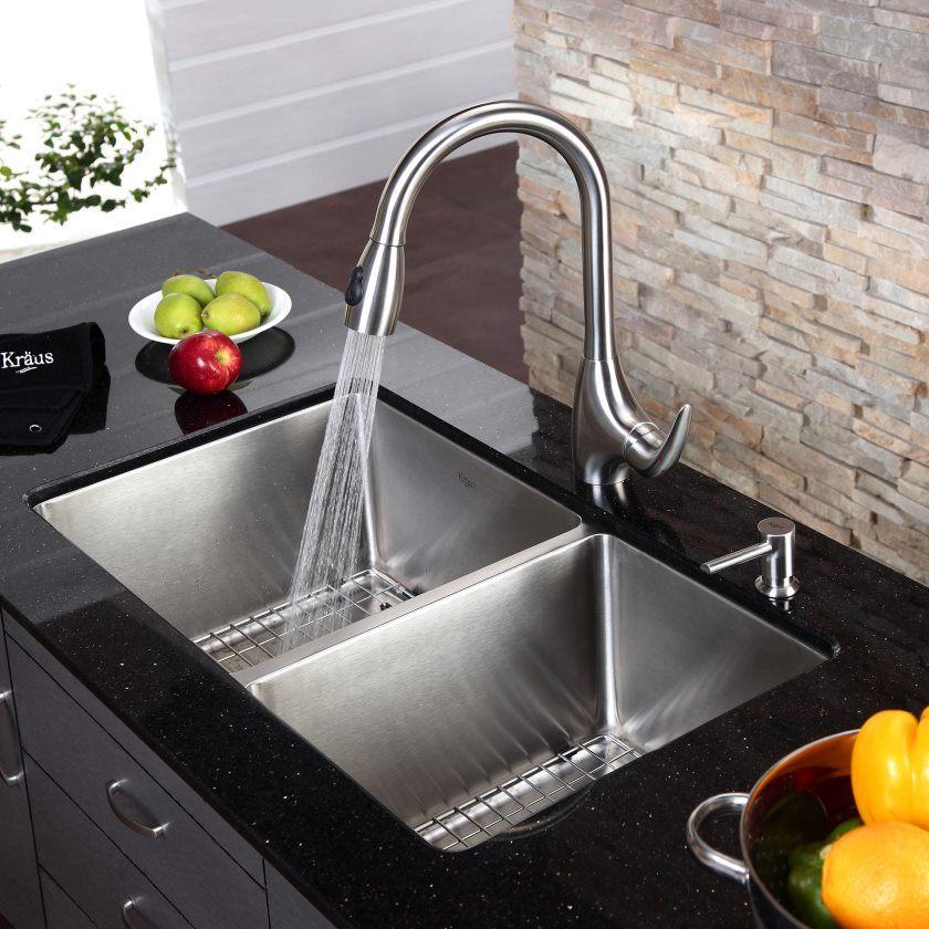 kraus-33-inch-Undermount-70-30-Double-bowl-16-gauge-Inox-Steel-Kitchen-Evier-Khu103-33