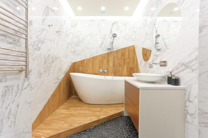design d'intérieur de salle de bain dans des couleurs blanches