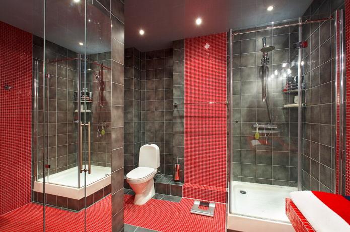 intérieur de la salle de bain dans les tons rouges