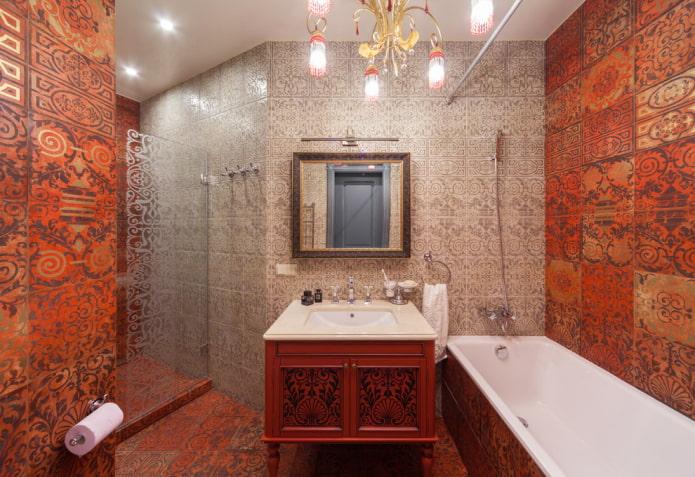 salle de bain dans les tons rouges et gris