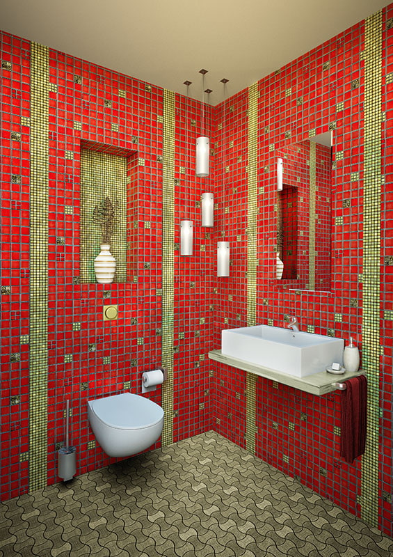 salle de bain dans les tons rouge-vert