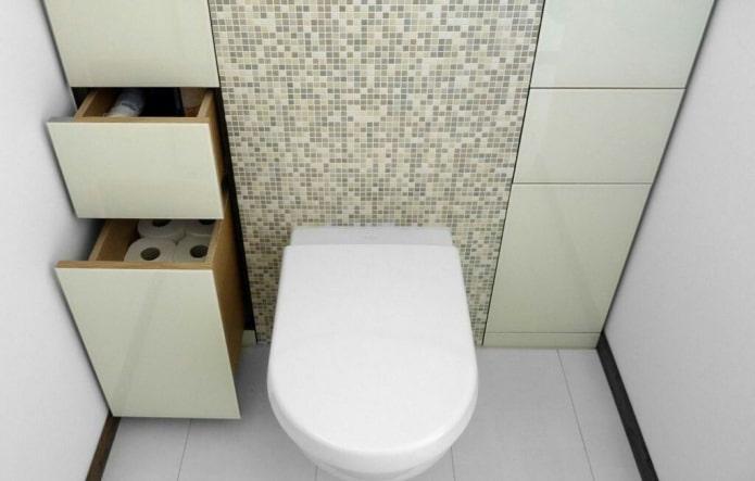 armoire coulissante à l'intérieur des toilettes