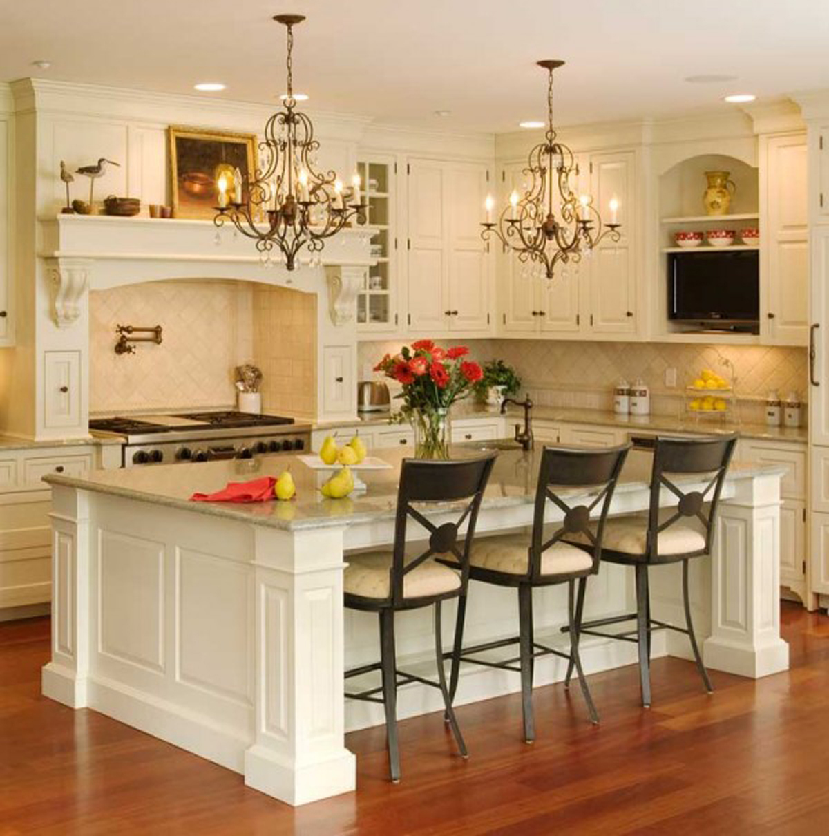 cuisine-classique-avec-ilot-blanc-design-interieur-retro