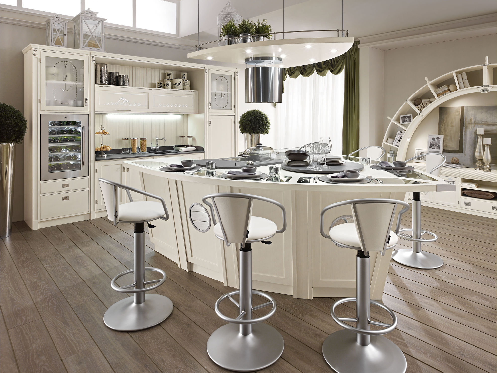 cuisine-unique-armoire-de-cuisine-idee-meuble-de-cuisine-moderne-et-ilot-avec-siege-bar-tabourets-aussi-unique-bibliotheque-et-hotte-cuisiniere-aussi-baie-fenetre-avec-rideau- idées-uniques-d'armoires-de-cuisine