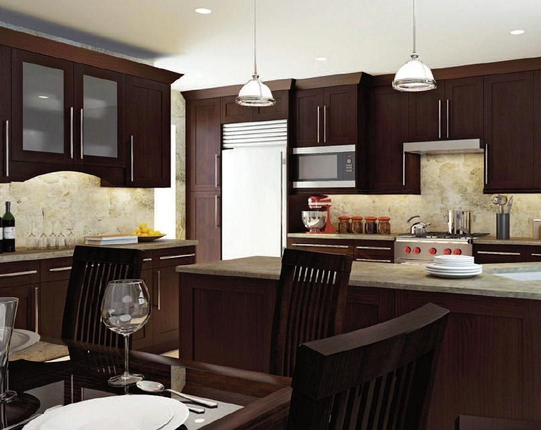 armoires de cuisine brun foncé