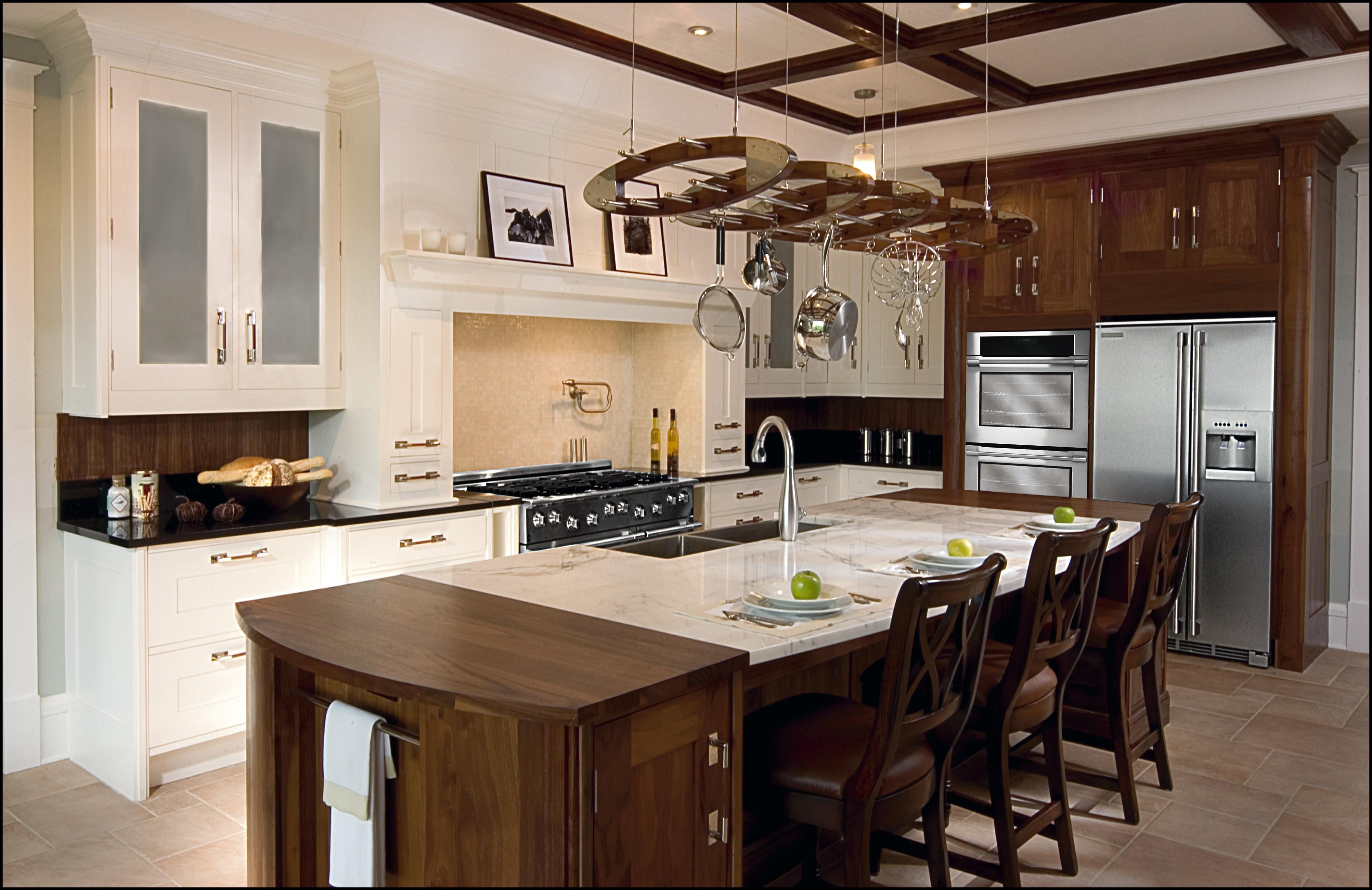 cuisine-séduisante-idées-de-design-de-luxe-champêtre-avec-table-à-manger-en-bois-brun-foncé-utilisant-un comptoir-piédestal-en-marbre-crème-être-équipé-évier-en-chrome-inox-sur-et-blanc- étagères-flottantes-en-bois-cabi