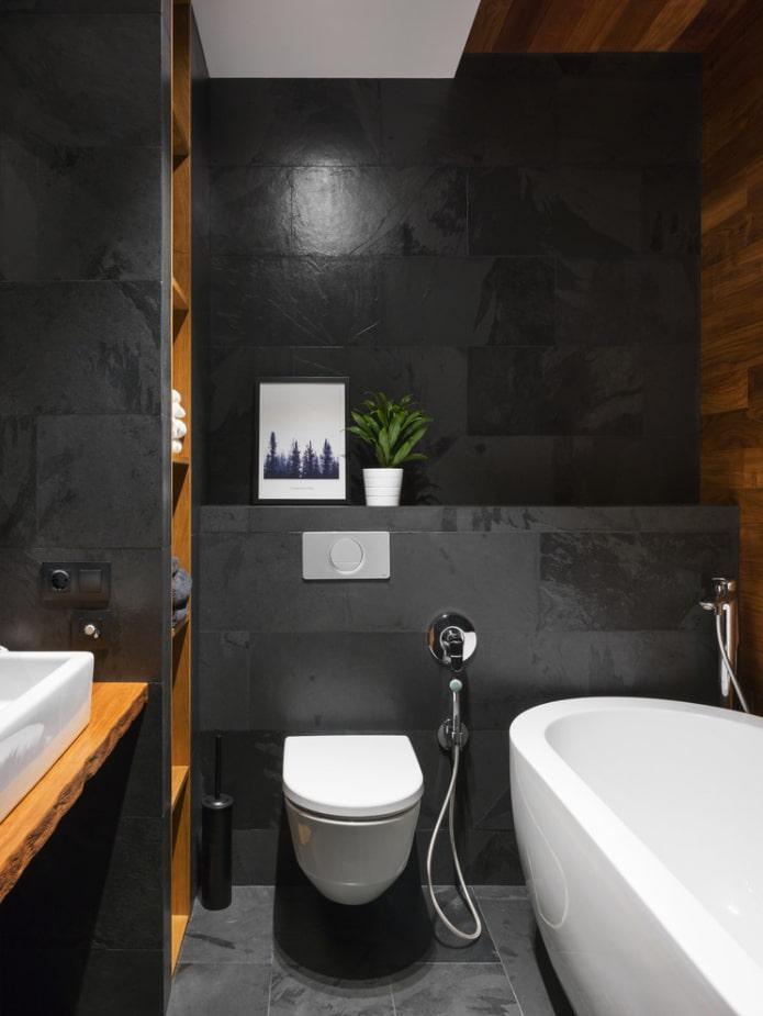 salle de bain en noir