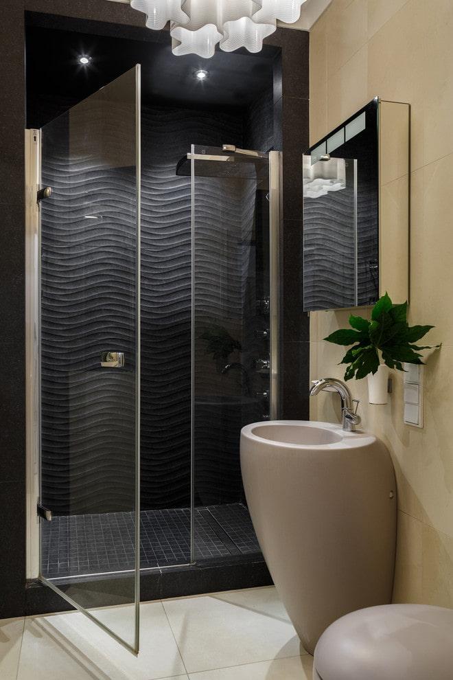 possibilité de décorer la cabine de douche avec du carrelage
