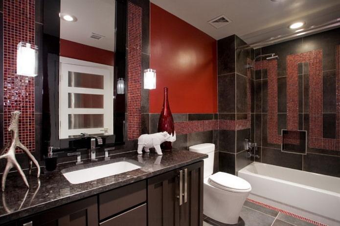 Salle de bain rouge et noire
