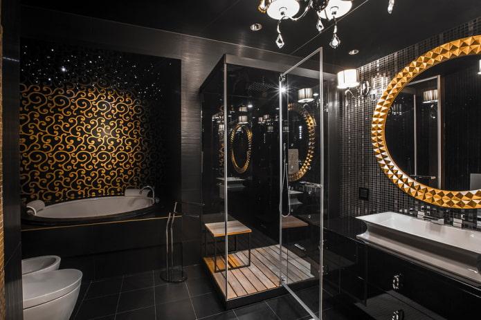 salle de bain noir et or
