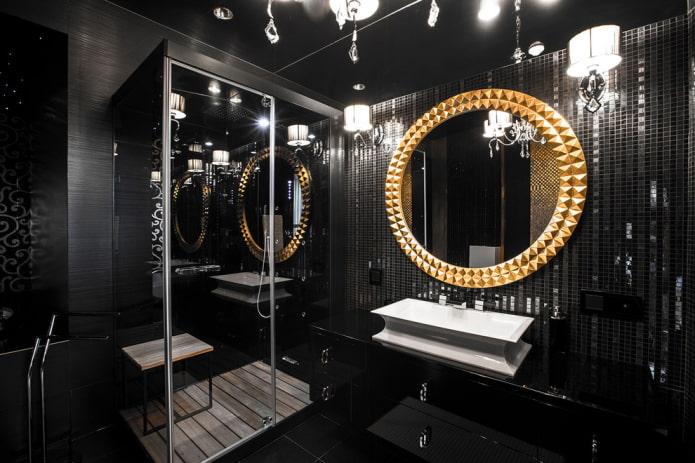 Черная плитка в ванной: дизайн, примеры раскладки, сочетания, фото в интерьере