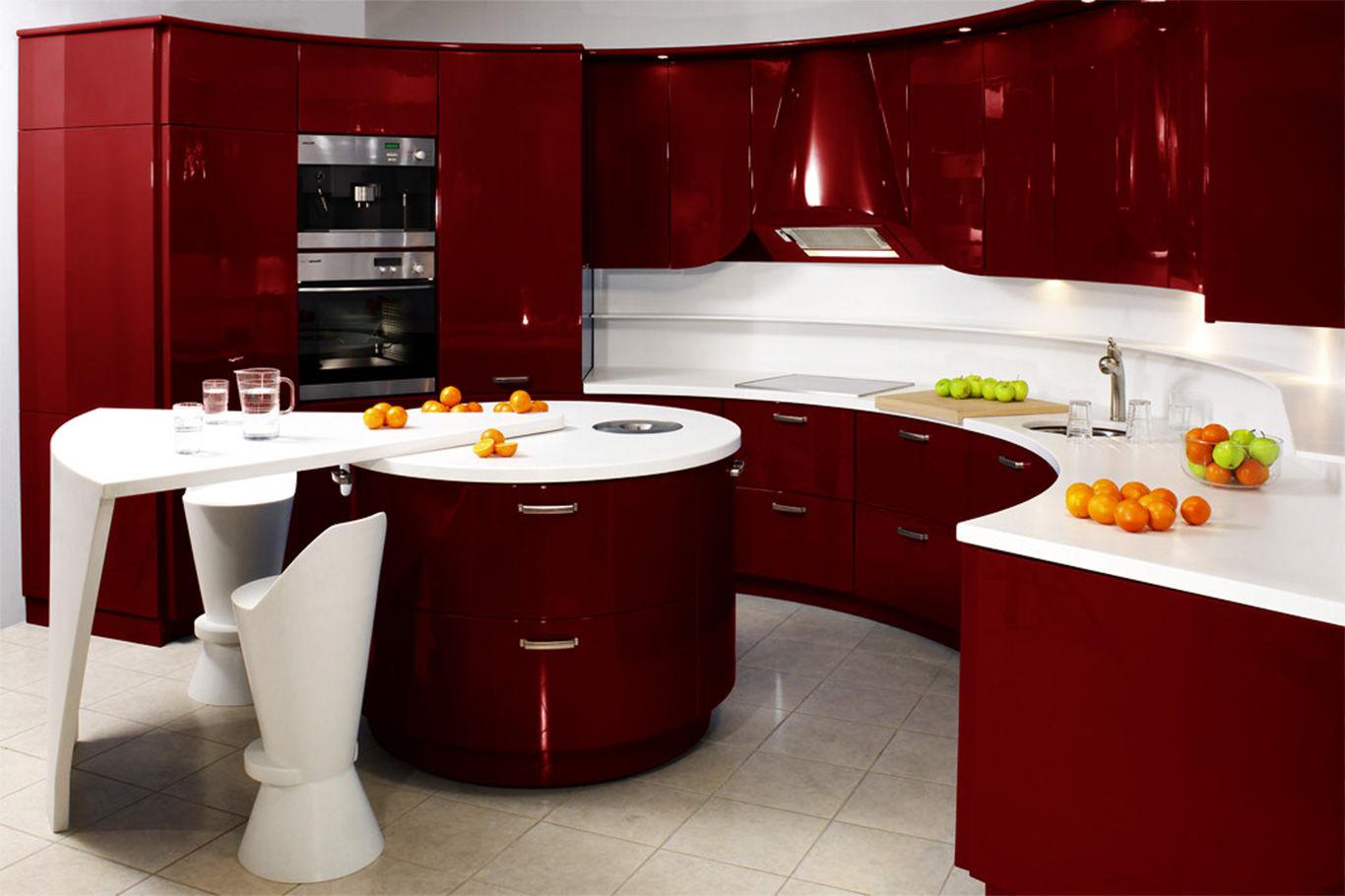 idées de cuisine noir rouge