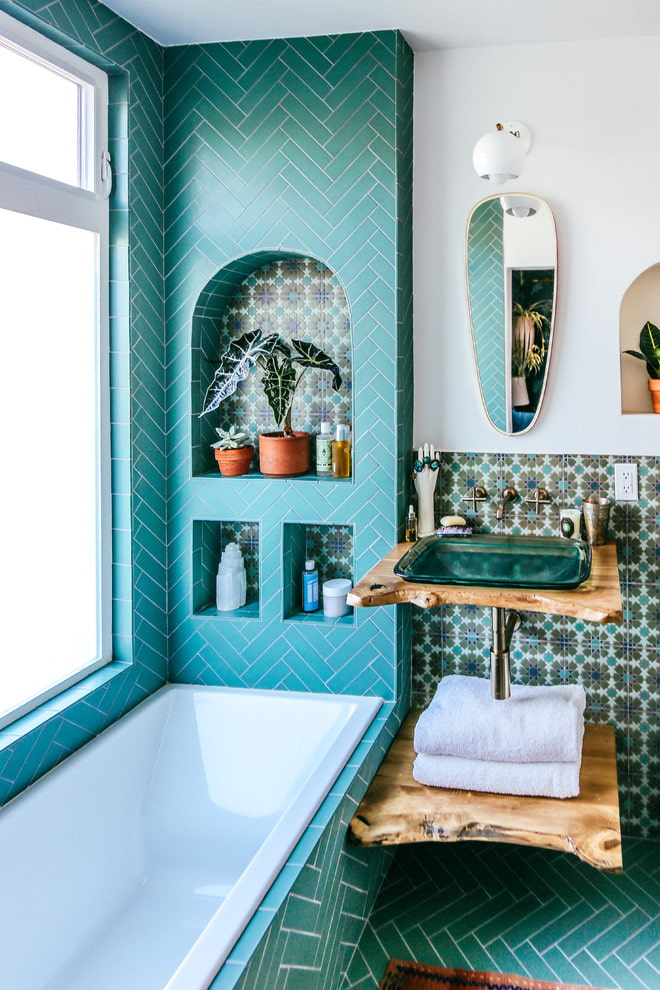 Tuiles diagonales turquoise