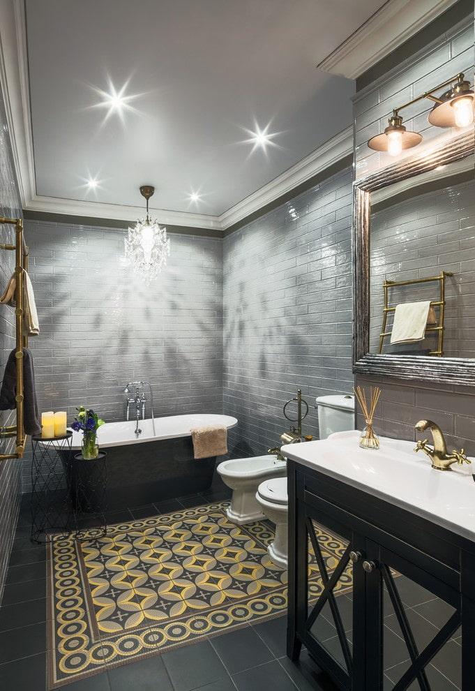 tapis de salle de bain carrelé
