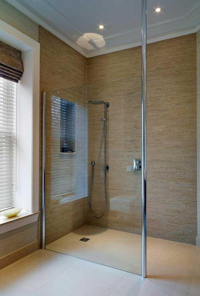 salle de douche sans bac en carrelage