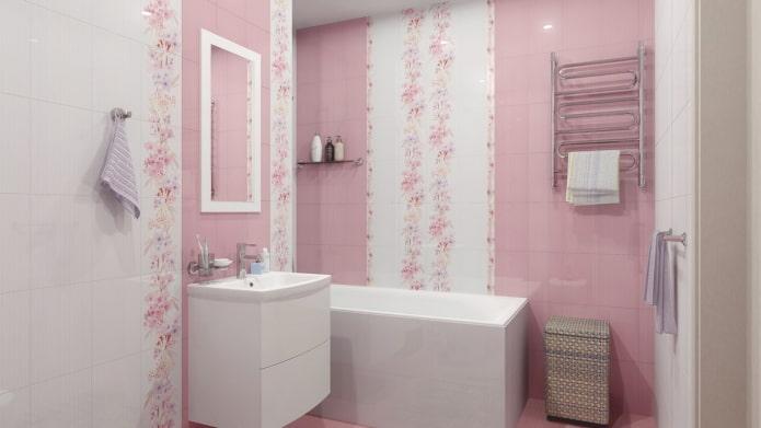 carreaux blancs et roses à l'intérieur de la salle de bain
