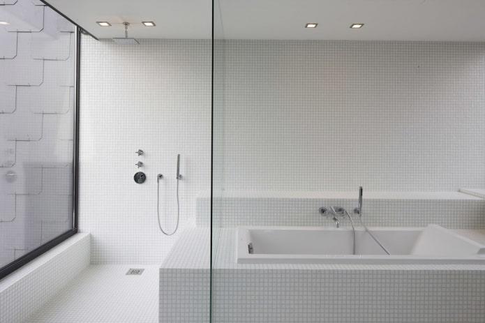 petits carreaux blancs à l'intérieur de la salle de bain