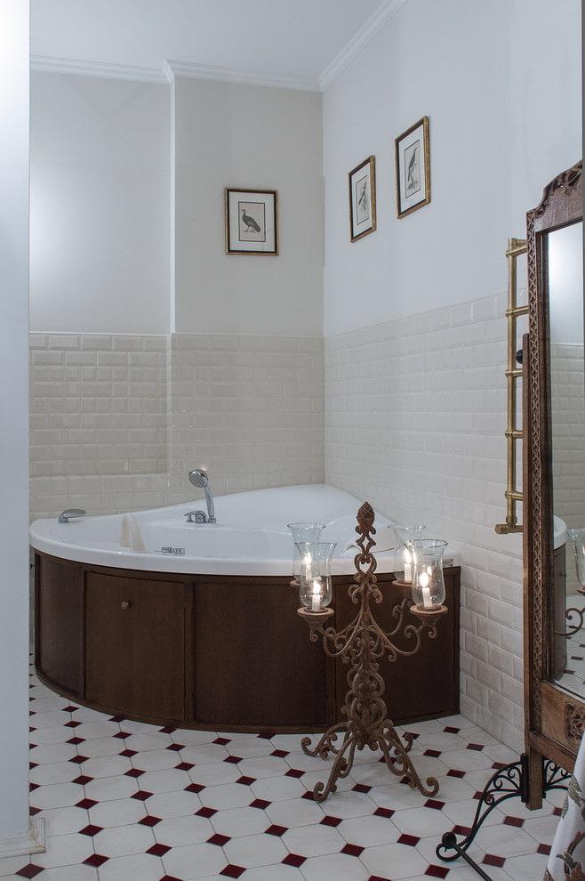 baignoire d'angle de style classique