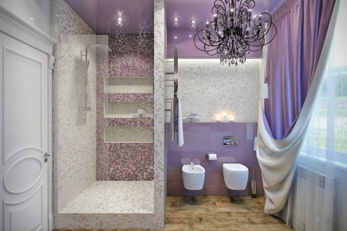 salle de bain lilas avec douche