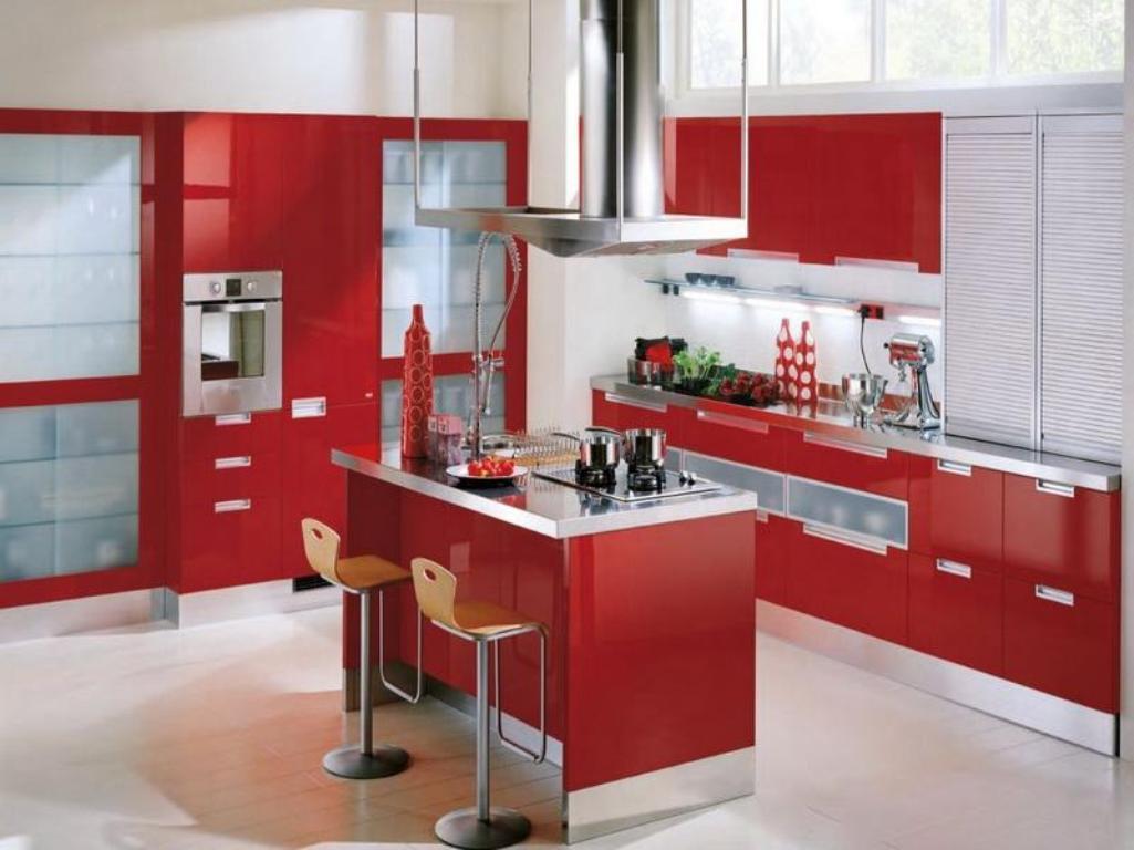 armoires-de-cuisine-rouges-modernes