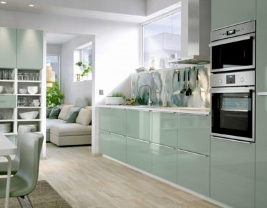 photo de la cuisine a la pistache dont la couleur