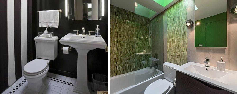 salle de bain moderne du milieu du siècle avant-après