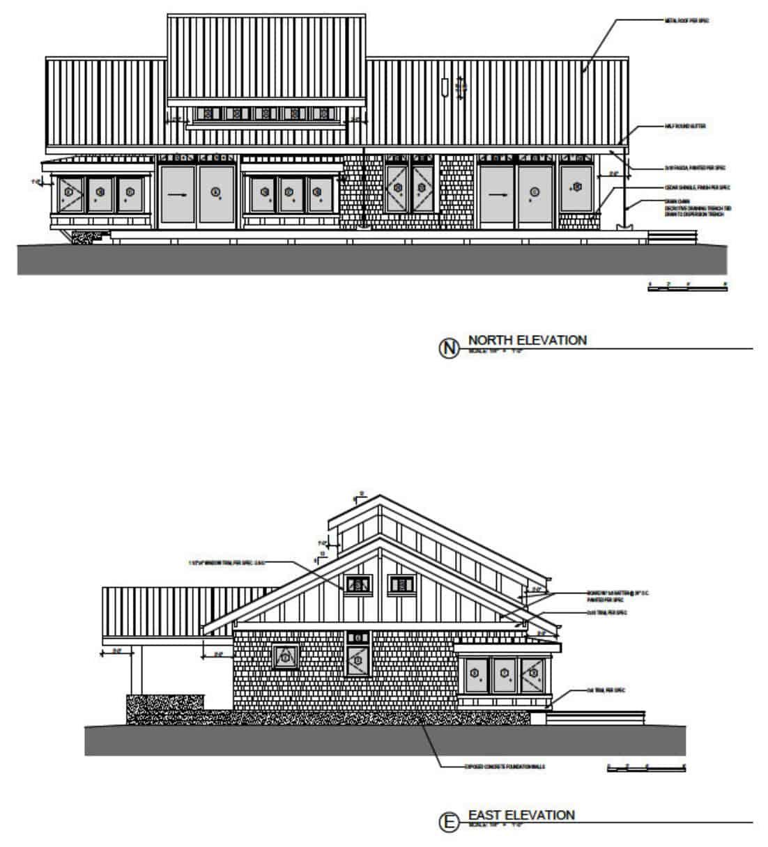 plan d'élévation de la maison de transition