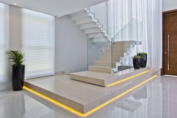 Garde-corps en verre d'escalier en U