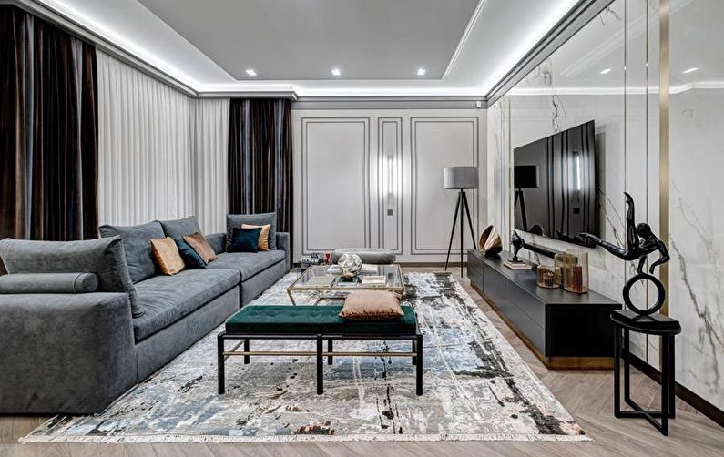 Salon de style contemporain avec tapis design URBAN
