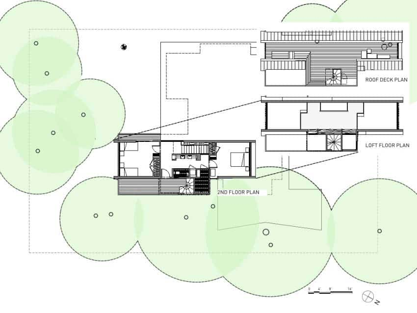 plan d'étage moderne du milieu du siècle