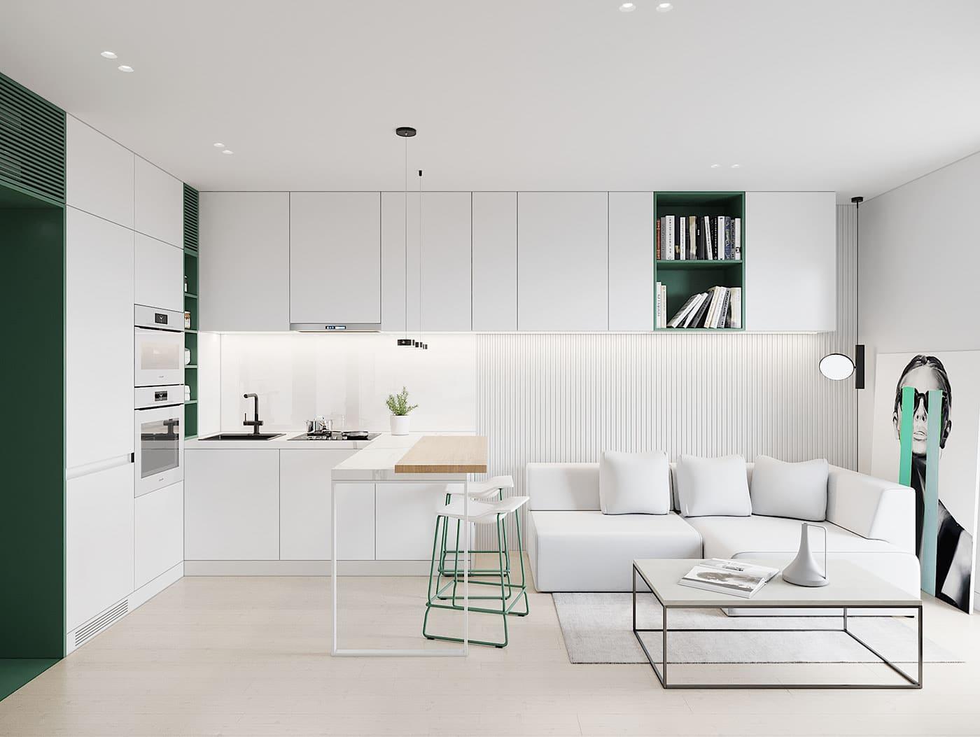 conception d'un appartement d'une pièce photo 73