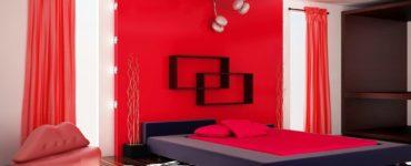 Chambre rouge solutions de design interessantes sur la photo