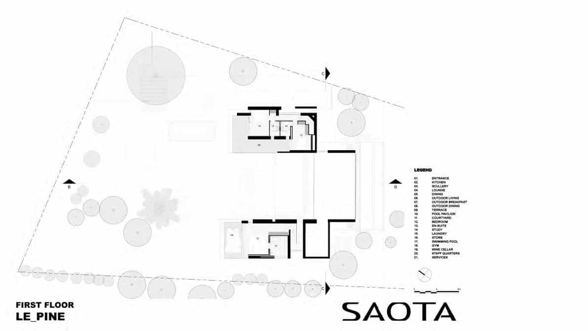 maison-d-ete-contemporaine-plan-d-étage-saint-tropez