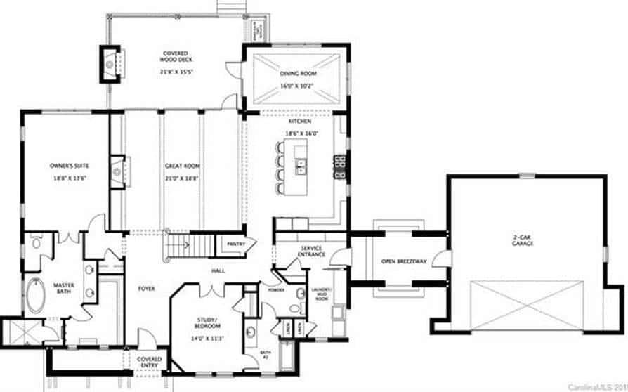 plan d'étage de maison de style transitionnel