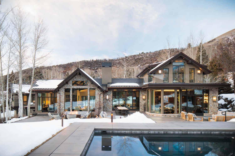 maison-de-montagne-moderne-piscine-extérieure