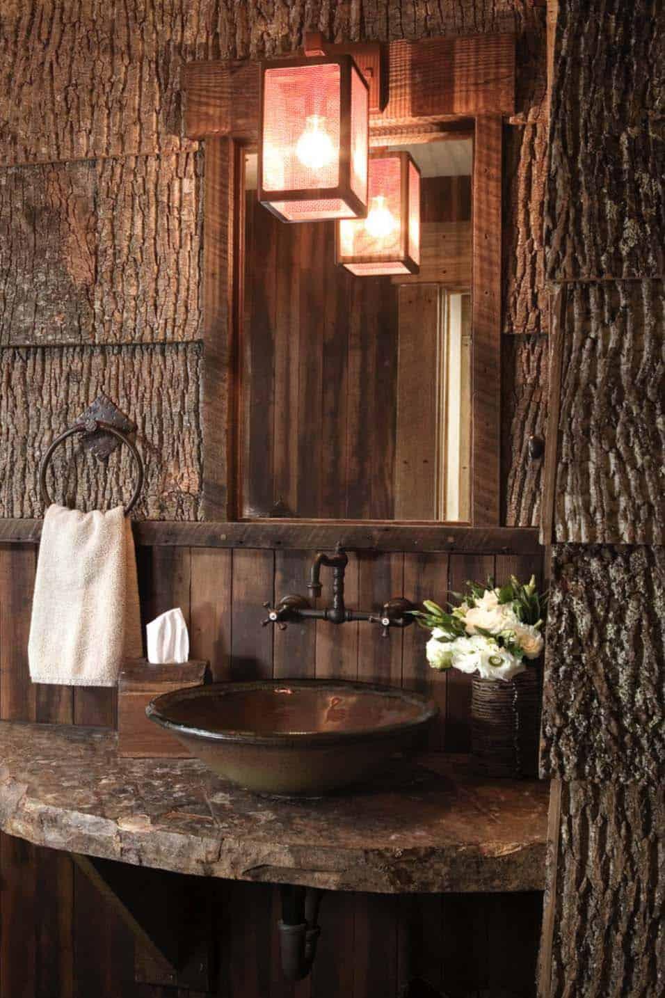 rustique-montagne-retraite-salle-de-bain-poudre