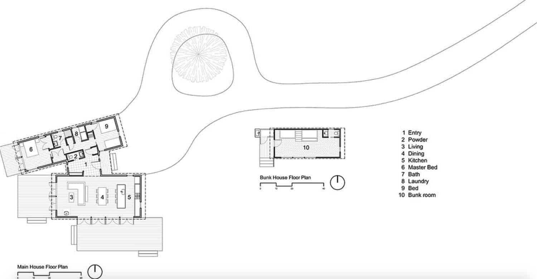 plan-site-de-la-cabine-moderne-au bord de l'eau